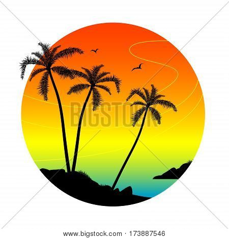 Palm silhouettes on the shore. Beach holiday concept vector illustration