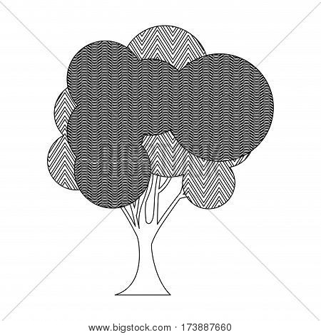 monochrome silhouette tree plant forest with wave and zigzag lines vector illustration