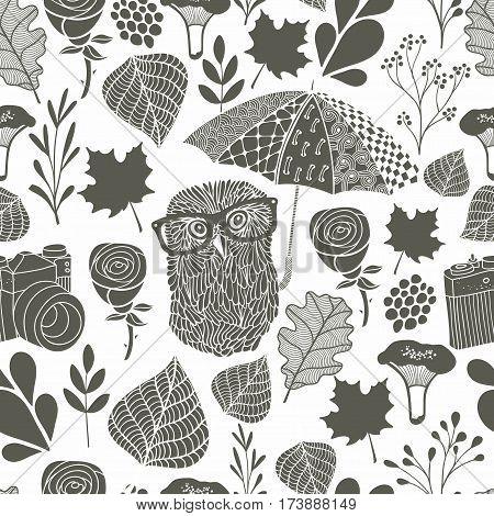 Monochrome seamless pattern with owl under the umbrella. Vector endless background.