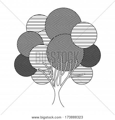 monochrome silhouette leafy tree plant with abstract lines and ramifications vector illustration