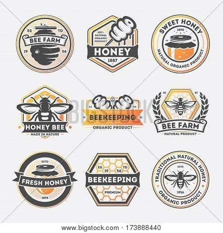 Sweet honey vintage isolated label set vector illustration. Bee farm symbol, traditional beekeeping icon, natural organic honey product logo. Premium quality food sign, fresh honey badge collection.
