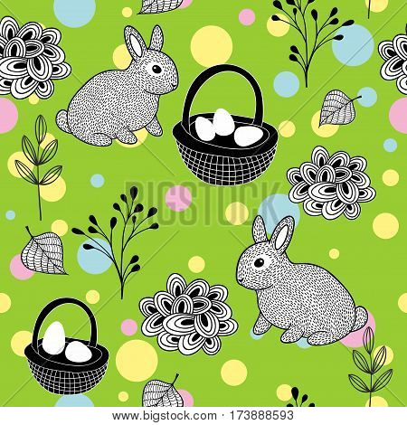 Wallpaper for the Easter holiday. Vector seamless pattern with cute rabbits and eggs in the baskets.