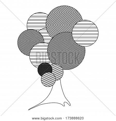 monochrome silhouette high leafy tree plant with striped lines and trunk vector illustration