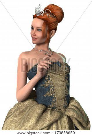 3D Rendering Fairytale Princess On White