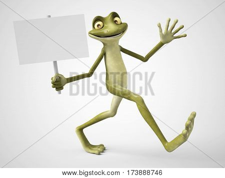 3D rendering of a smiling cartoon frog holding a blank sign in his hand. White background.