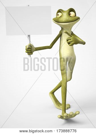3D rendering of a smiling cartoon frog holding a blank sign in one hand and pointing to it with his other hand. White background.