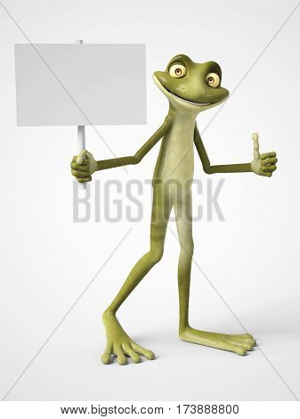 3D rendering of a smiling cartoon frog holding a blank sign in one hand and giving a thumb up with his other hand. White background.