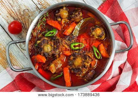 Beef Tail Stew With Vegetables, Thyme, Red Wine