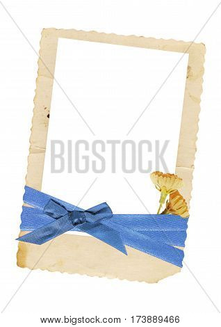 a vintage photo frame decorated with colorful ribbons isolated on white background