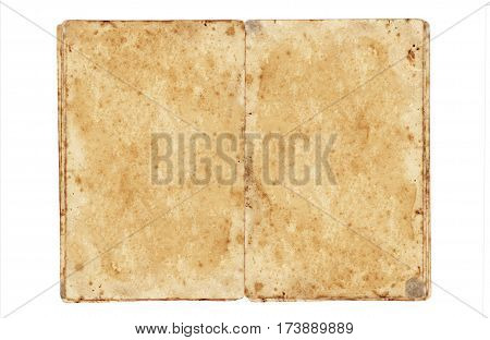 open grungy book isolated on white background