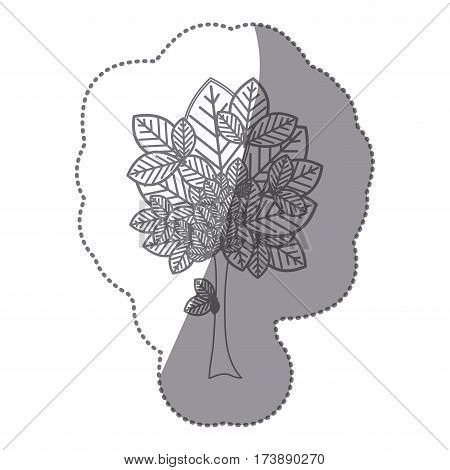 sticker gray color leafy tree plant with large trunk vector illustration