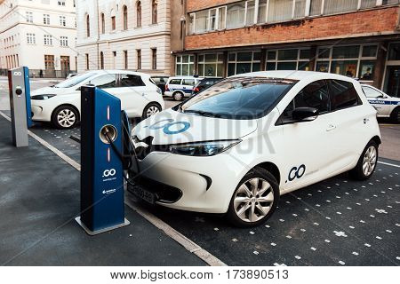 LJUBLJANA SLOVENIA - FEBRUARY 19 2017: Electric car charging point at parking lot
