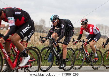 KUURNE BELGIUM - FEBRUARY 26: Ian Stannard (GBR) of Team Sky racing in the closing kilometres at Kuurne-Brussels-Kuurne on February 26 2017