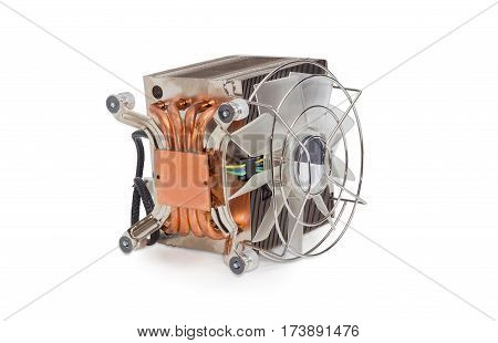Bottom view of the active CPU cooler with large finned heatsink fan copper thermal pad with a heat pipes on a light background