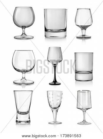 Goblets for hard liquors isolated on white