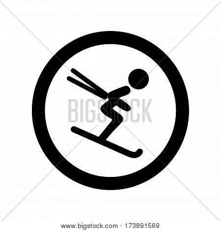 Downhill skiing icon thin line for web and mobile modern minimalistic flat design