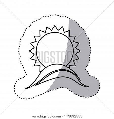 monochrome contour sticker with sun over sea waves vector illustration
