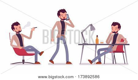Set of young dandy in smart casual wear in office situations, coworking space, sitting and vaping, walking and talking on phone, thinking at the desk, isolated against white background, full length