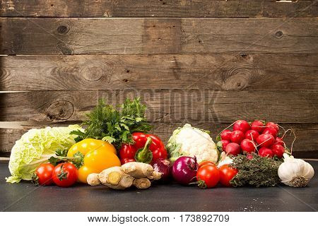 Fresh Organic Homegrown Vegetables In Blue Wooden Box
