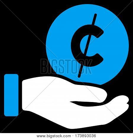 Cent Payment Hand vector icon. Illustration style is a flat iconic bicolor blue and white symbol on black background.