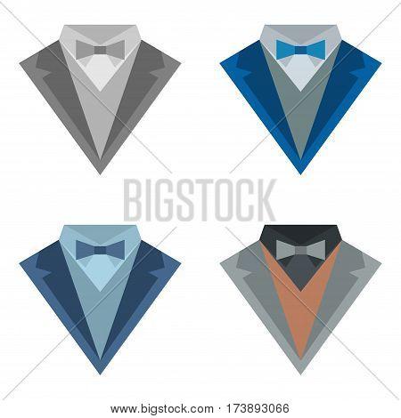 Set of four suit icons different colors
