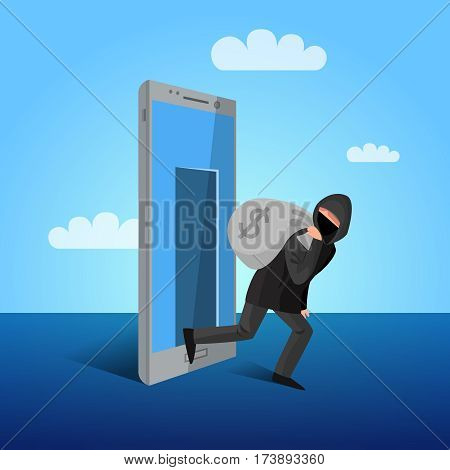 Smartphone hacker escaping through device screen with money mobile phones cyber attacks warning flat poster vector illustration