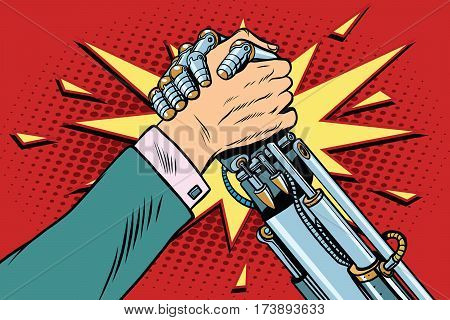 Man vs robot Arm wrestling fight confrontation, pop art retro vector illustration. New technology progress