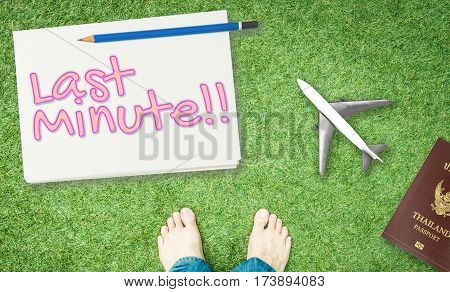 Last minute Travel agency deal banner with feet