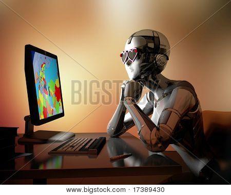 De robot werkt op de computer