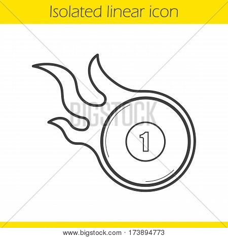 Burning billiard ball linear icon. Thin line illustration. Number 1 billiard ball contour symbol. Vector isolated outline drawing