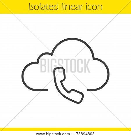 Cloud computing call center linear icon. Handset thin line illustration. Web storage support service concept. Contour symbol. Vector isolated outline drawing