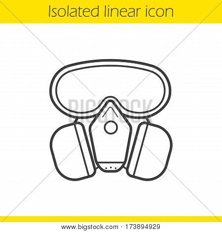Gas mask linear icon. Thin line illustration. Chemical lab protective mask contour symbol. Vector isolated outline drawing