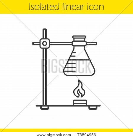Chemical reaction linear icon. Thin line illustration. Ring stand with flask over fire contour symbol. Vector isolated outline drawing