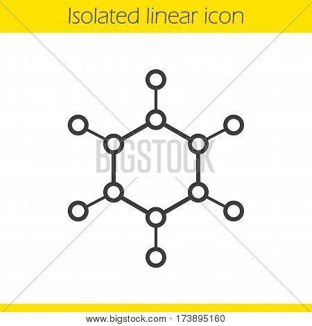 Molecule linear icon. Thin line illustration. Molecular structure model contour symbol. Vector isolated outline drawing