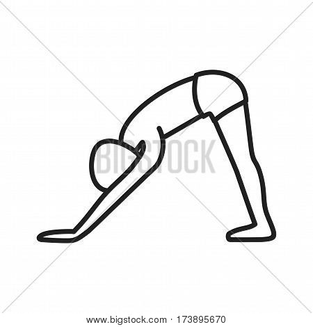 Dog, downward, pose icon vector image. Can also be used for yoga poses. Suitable for mobile apps, web apps and print media.