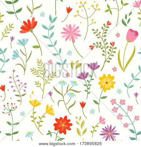 Cute seamless floral print with spring flowers. Beautiful fabric pattern. EPS10 vector illustration.