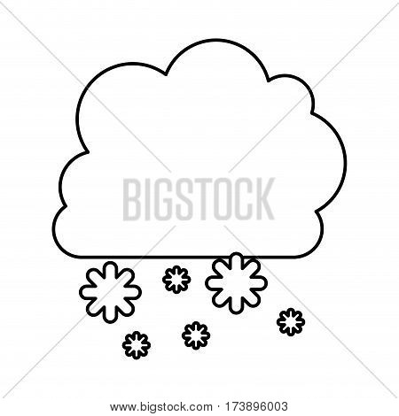 monochrome contour with cumulus of clouds and snow fall vector illustration