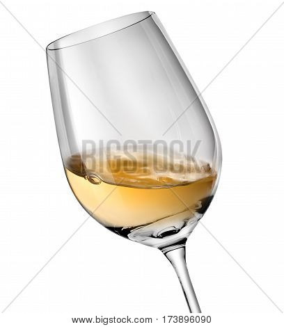 White wine in a glass isolated on a white background