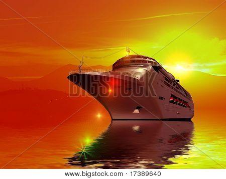A modern liner  is in an ocean