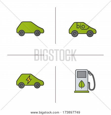 Eco friendly cars color icons set. Green, bio, electric vehicles, eco fuel concept. Isolated vector illustrations