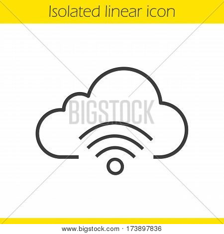 Cloud computing wifi connection linear icon. Thin line illustration. Wifi signal contour symbol. Vector isolated outline drawing
