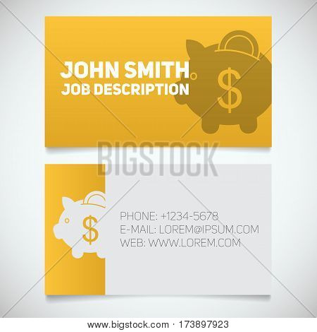 Business card print template with piggy bank logo. Easy edit. Banker. Economist. Stationery design concept. Vector illustration