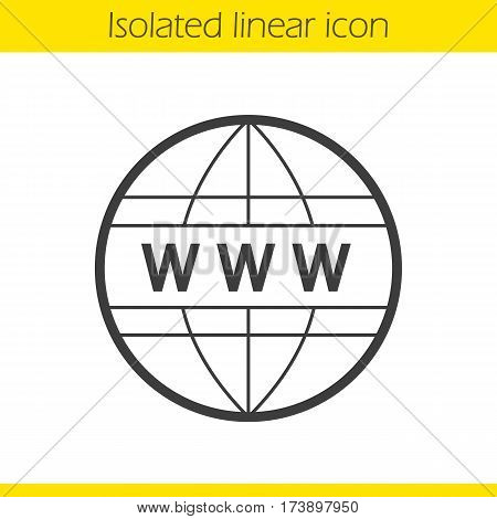 Global network linear icon. Thin line illustration. Internet connection. Www globe contour symbol. Vector isolated outline drawing