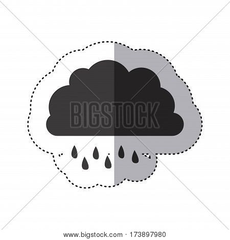 gray silhouette sticker of cloud with drizzle vector illustration