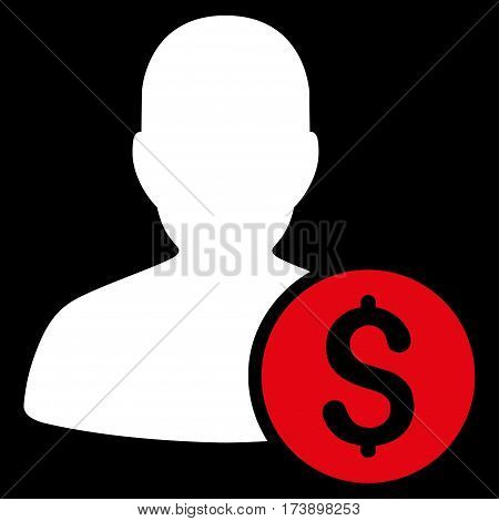 Investor vector pictograph. Illustration style is a flat iconic bicolor red and white symbol on black background.