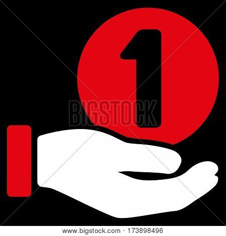 One Coin Payment Hand vector pictograph. Illustration style is a flat iconic bicolor red and white symbol on black background.
