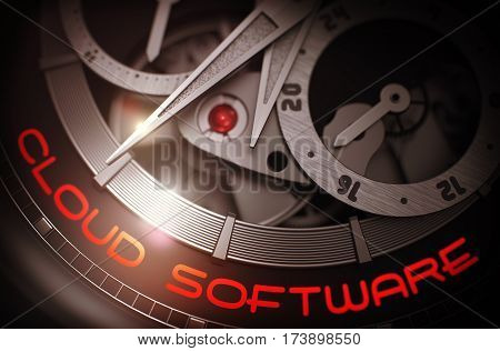 Mechanical Wristwatch with Cloud Software on the Face, Symbol of Time.  Business Concept with Glow Effect and Lens Flare. 3D Rendering.