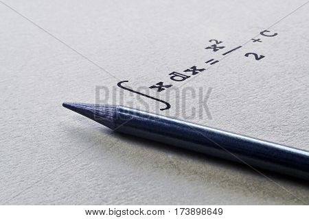 Pencil and integral of a function on bright background