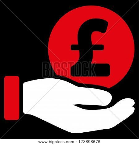 Pound Coin Payment Hand vector pictogram. Illustration style is a flat iconic bicolor red and white symbol on black background.