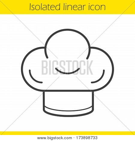 Chef's hat linear icon. Thin line illustration. Toque contour symbol. Vector isolated outline drawing